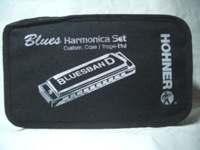 Set van 7 mondharmonica in draagkoffer